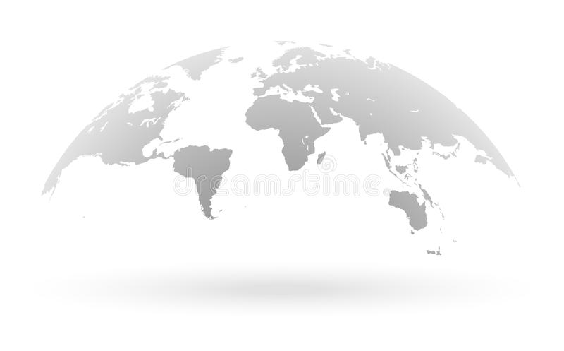 Globo cinzento do mapa do mundo isolado no fundo branco ilustração do vetor