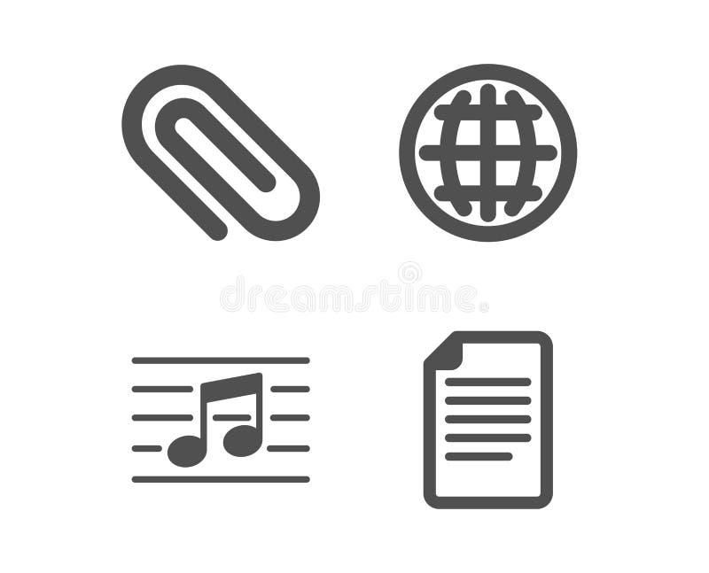 Globo, clip de papel e iconos de la nota musical Muestra del fichero Mundo de Internet, paperclip de la fijación, música P?gina d stock de ilustración