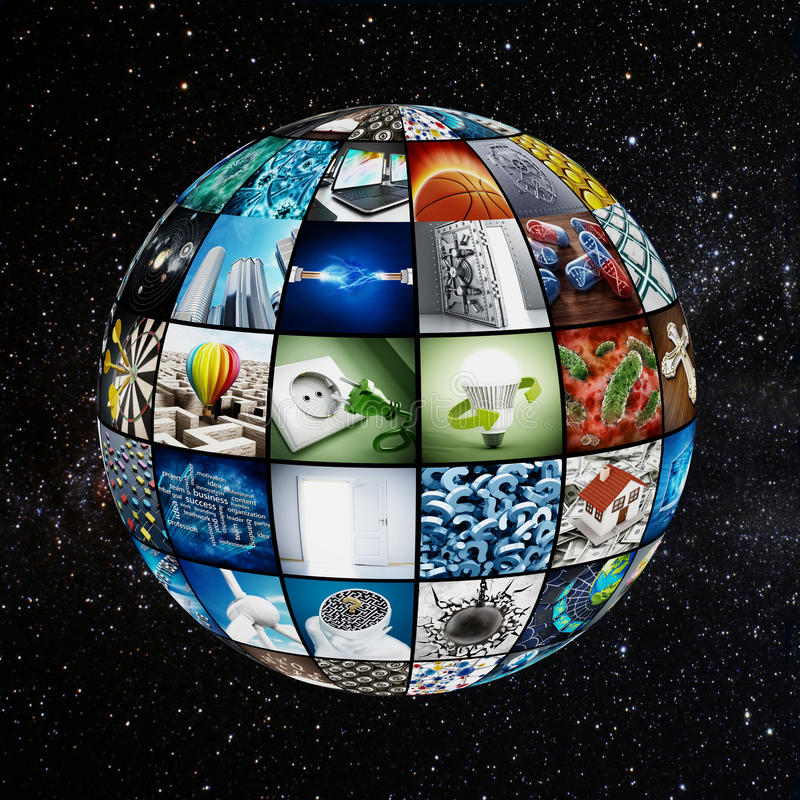 Globo coberto com as telas da tevê ilustração stock