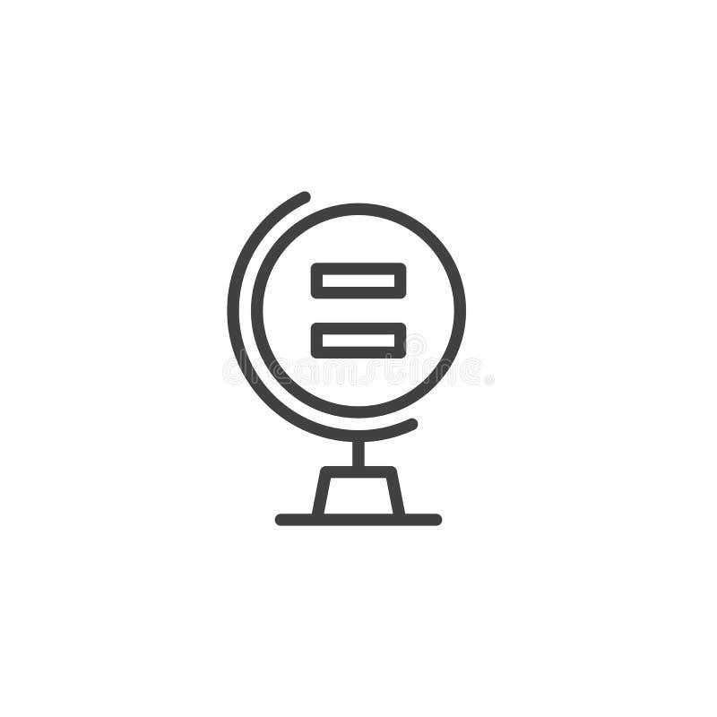 Globo com ícone do esboço do sinal de igualdade ilustração stock