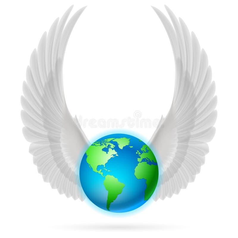 Globo com as asas brancas no branco ilustração do vetor