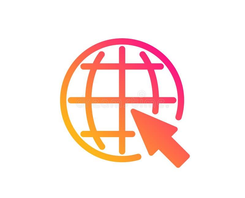 Globo com ?cone do cursor do rato Sinal do mundo Vetor ilustração royalty free