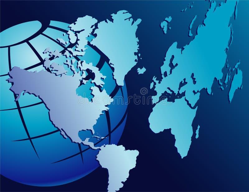 Globo com continentes ilustração stock