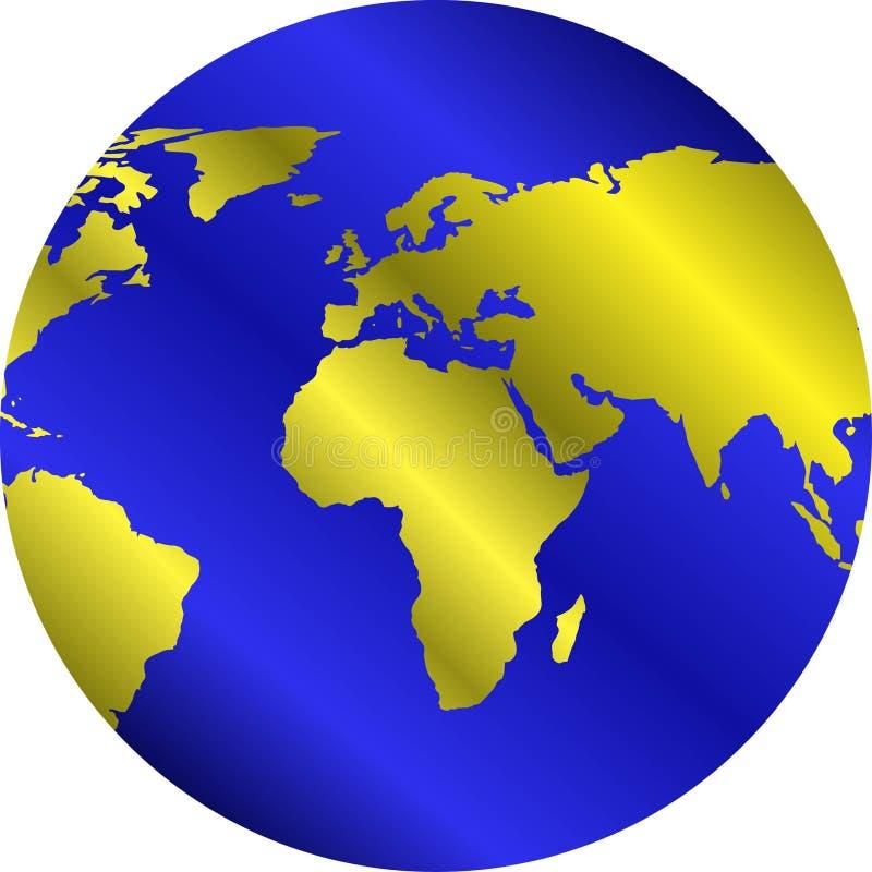 Globo com continentes dourados ilustração do vetor