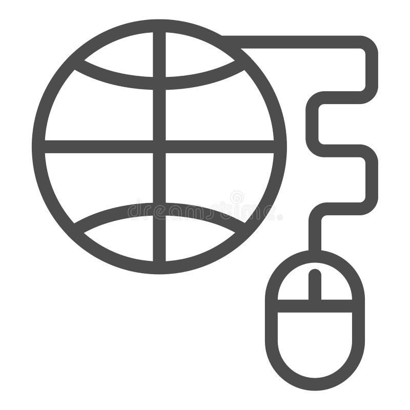 Globo com linha ícone do rato do computador Ilustração do vetor do planeta e do rato isolada no branco Estilo do esboço do Intern ilustração stock