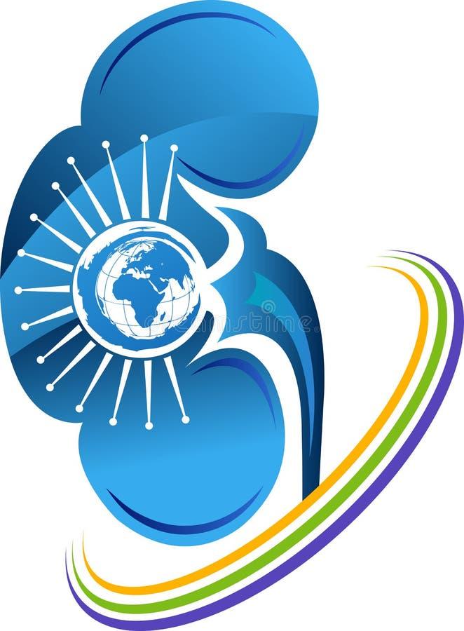 Globo com logotipo do rim ilustração royalty free