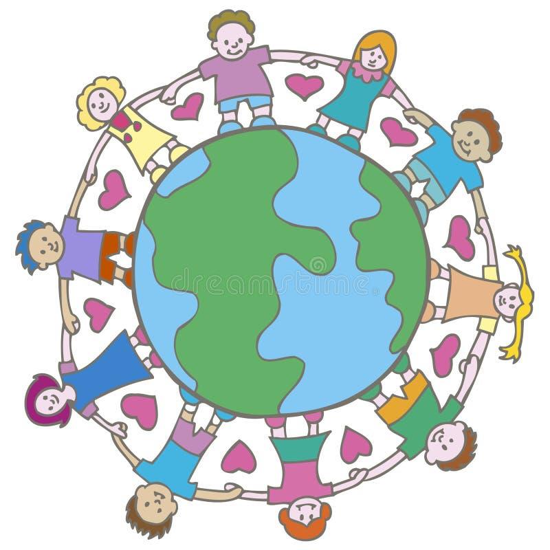 Globo com miúdos circunvizinhos ilustração do vetor