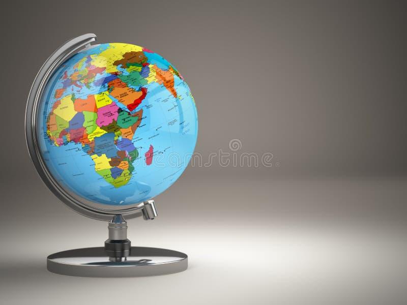 Globo com o mapa político no fundo cinzento ilustração stock
