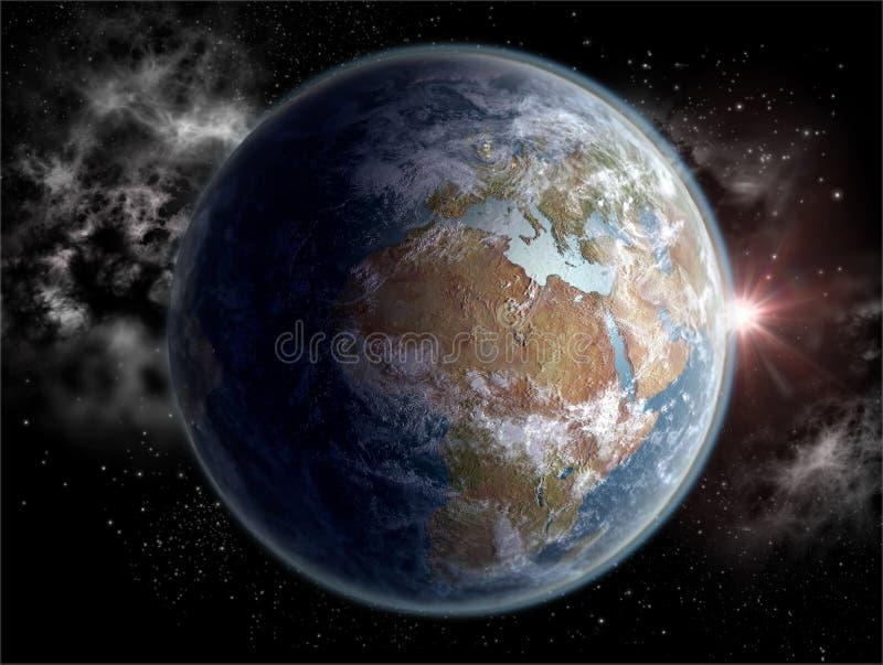 Globo com os continentes africanos e europeus dentro ilustração royalty free