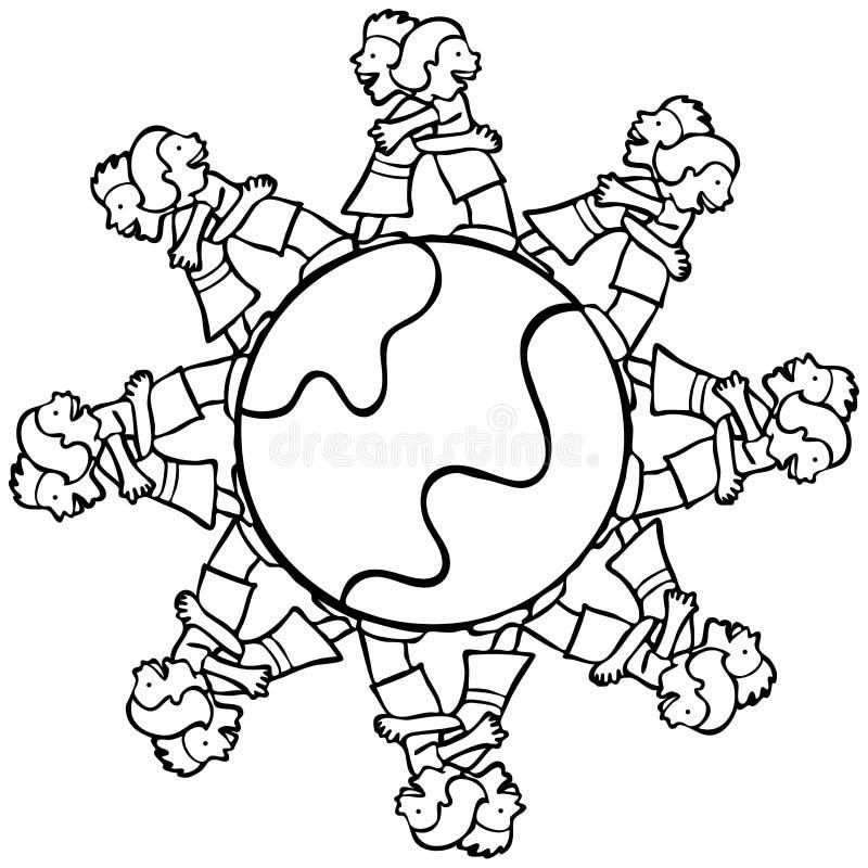 Globo com os miúdos circunvizinhos que abraçam - B e W ilustração royalty free