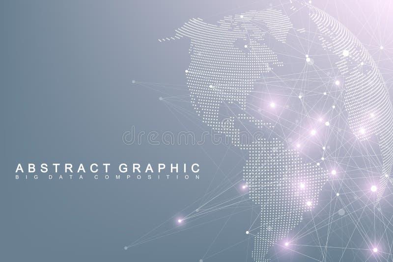 Globo complesso del mondo di grandi dati Comunicazione astratta grafica del fondo Contesto di prospettiva di profondità Minimo vi illustrazione di stock