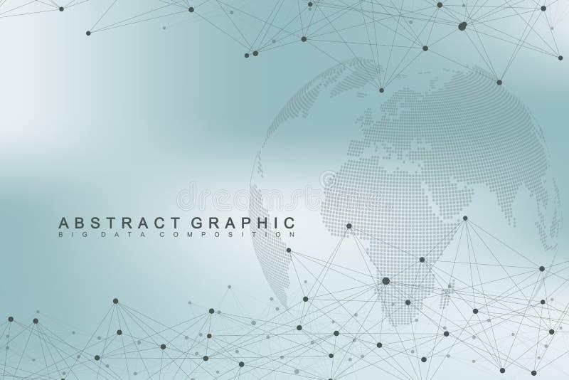 Globo complesso del mondo di grandi dati Comunicazione astratta grafica del fondo Contesto di prospettiva di profondità Minimo vi illustrazione vettoriale
