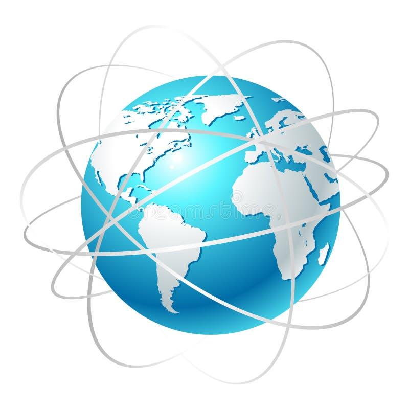 Globo con órbitas ilustración del vector