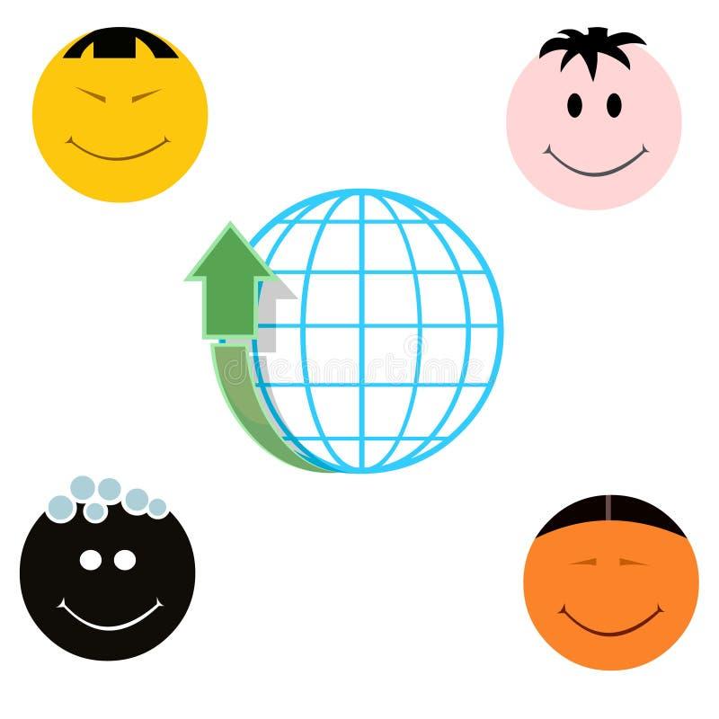 Globo con caras nacionales ascendentes y cuatro de la flecha diversas stock de ilustración