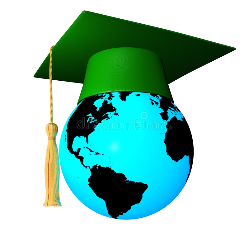 Globo con el casquillo de la graduación ilustración del vector