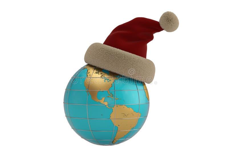 Globo con il cappello di Santa isolato su fondo bianco illustratio 3D royalty illustrazione gratis