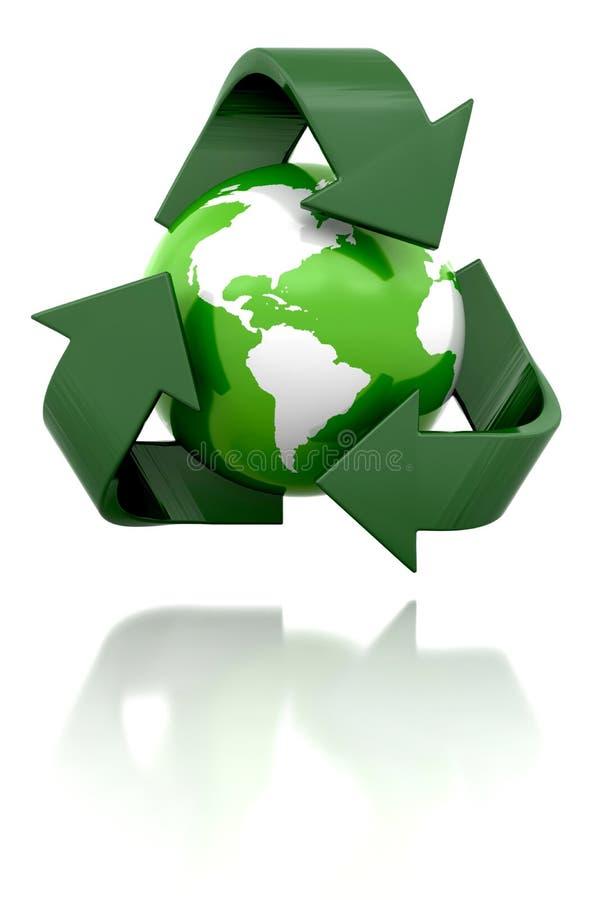 Globo con il riciclaggio dell'icona illustrazione vettoriale