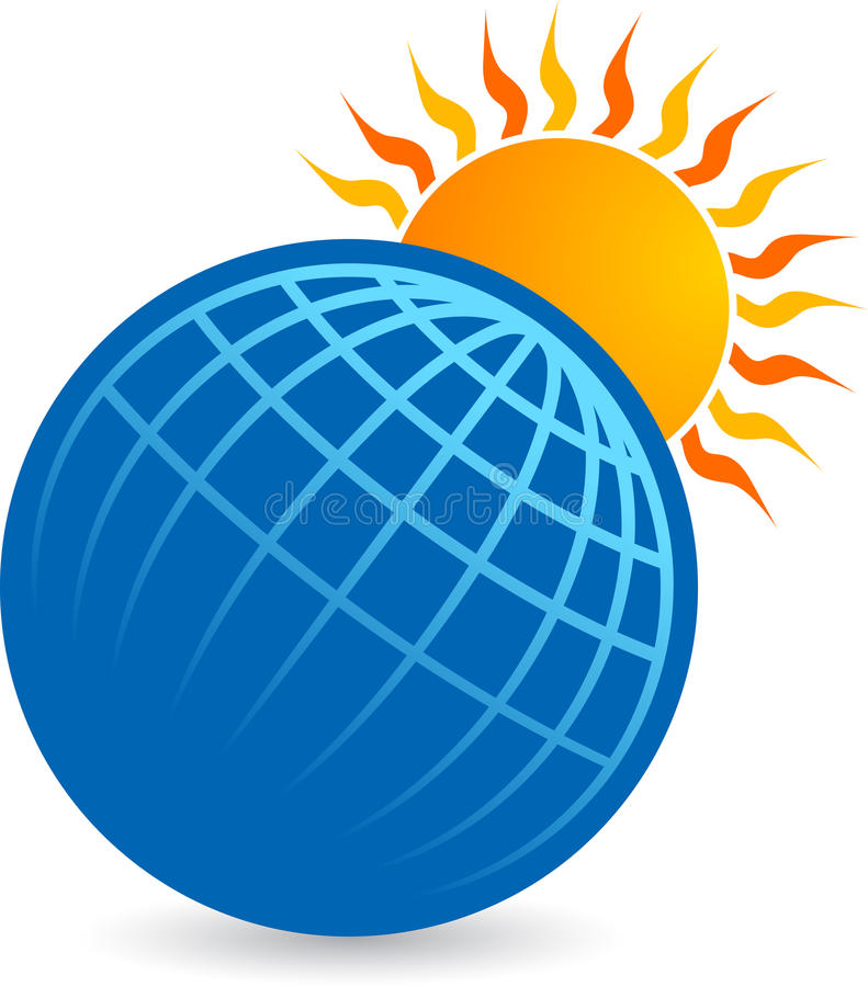 Globo con insignia del sol stock de ilustración