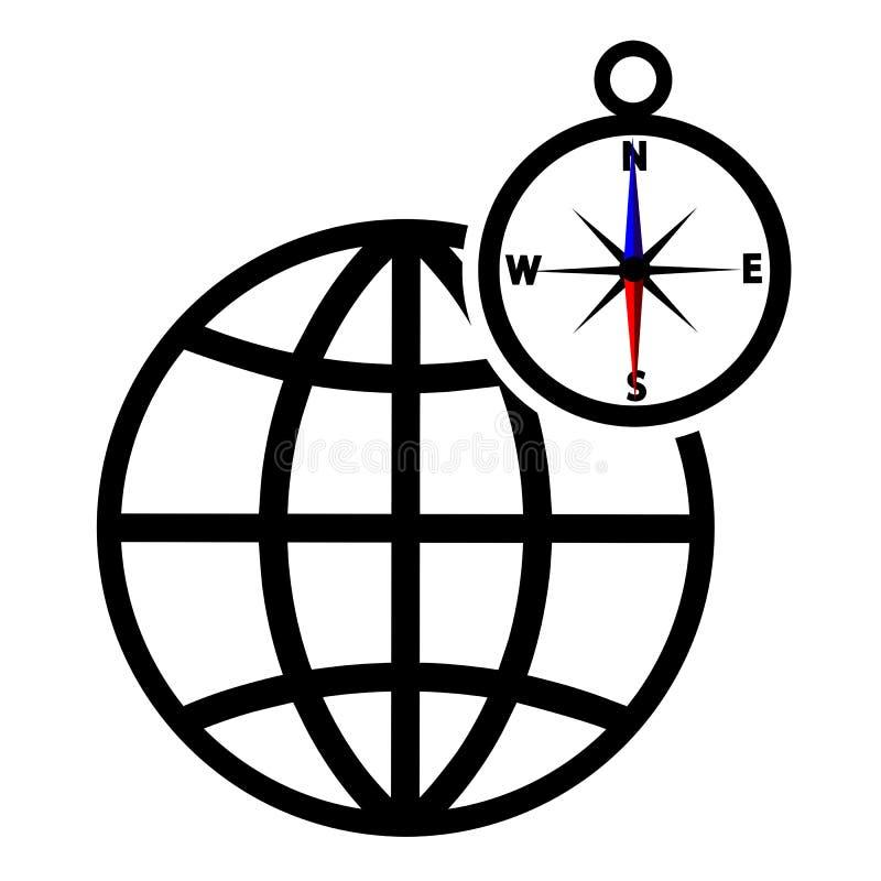 Globo con l'icona di vettore della bussola isolata su bianco royalty illustrazione gratis