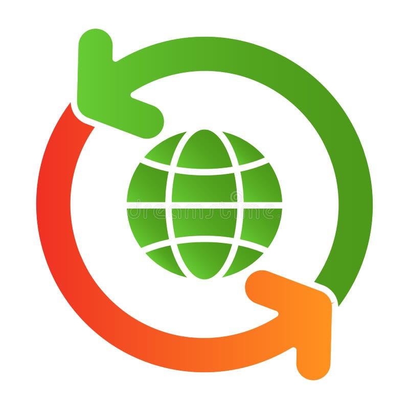 Globo con l'icona piana delle frecce Il mondo con le frecce di circonduzione colora le icone nello stile piano d'avanguardia Prog illustrazione vettoriale