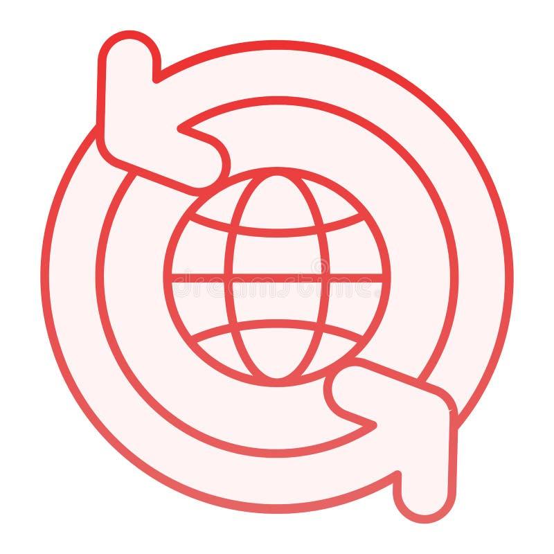Globo con l'icona piana delle frecce Mondo con le icone rosse di circonduzione delle frecce nello stile piano d'avanguardia Proge illustrazione di stock