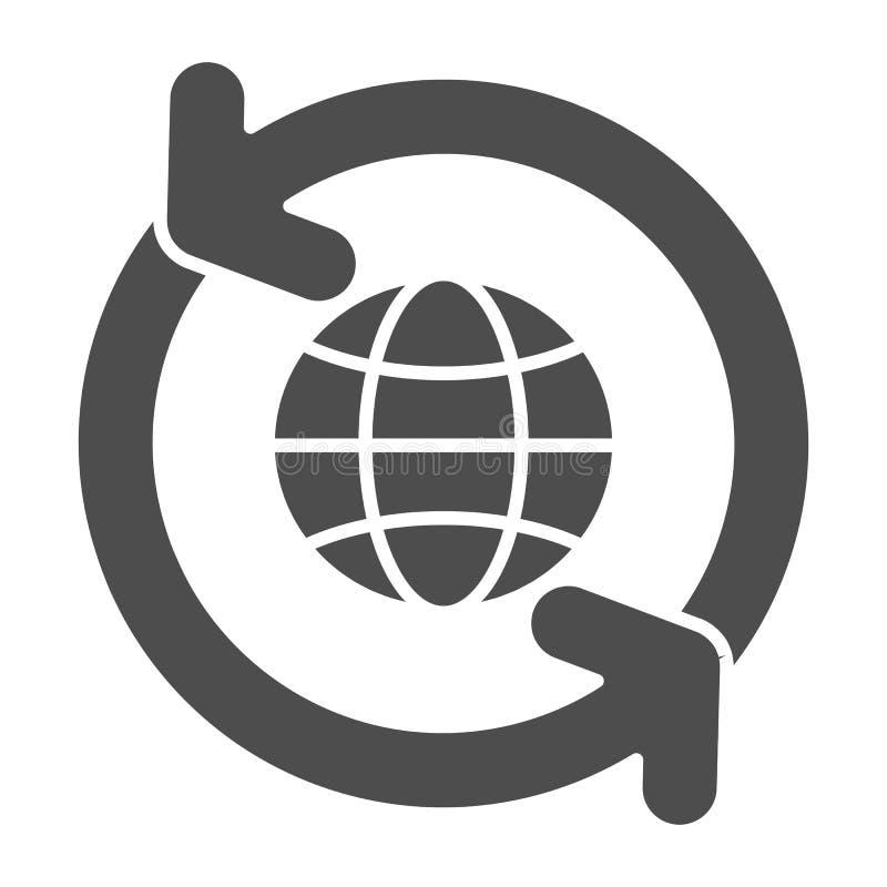 Globo con l'icona solida delle frecce di circolazione Mondo con l'illustrazione di circonduzione di vettore delle frecce isolata  illustrazione vettoriale