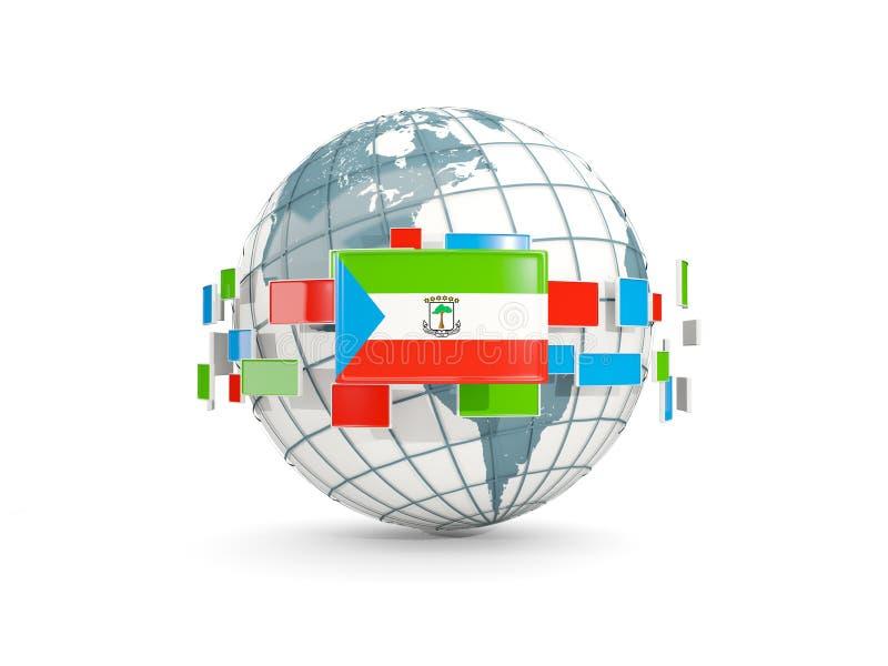 Globo con la bandera de la Guinea Ecuatorial aislada en blanco libre illustration