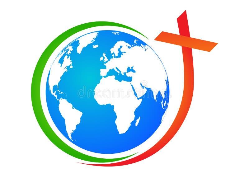 Globo con la cruz stock de ilustración