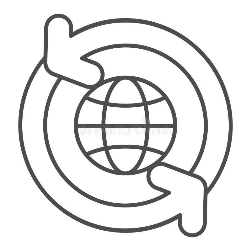Globo con la linea sottile icona delle frecce di circolazione Mondo con l'illustrazione di circonduzione di vettore delle frecce  royalty illustrazione gratis