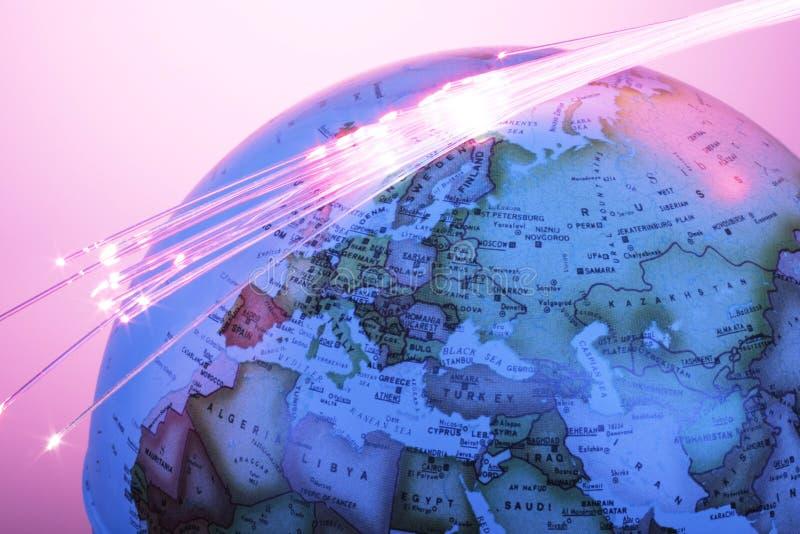 Globo con las fibras ópticas imagen de archivo libre de regalías