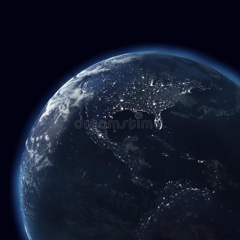 Globo con las luces de la ciudad, América de la noche fotografía de archivo libre de regalías