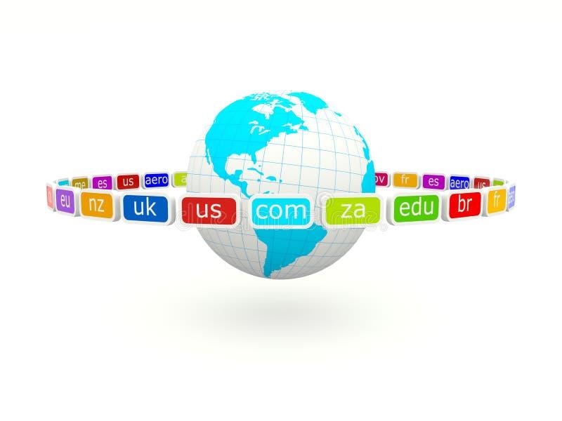 Globo con las muestras del dominio del Internet stock de ilustración