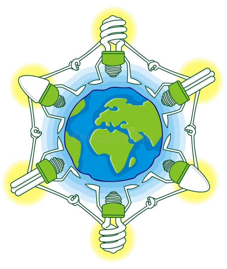 Globo con los bulbos del cfl stock de ilustración