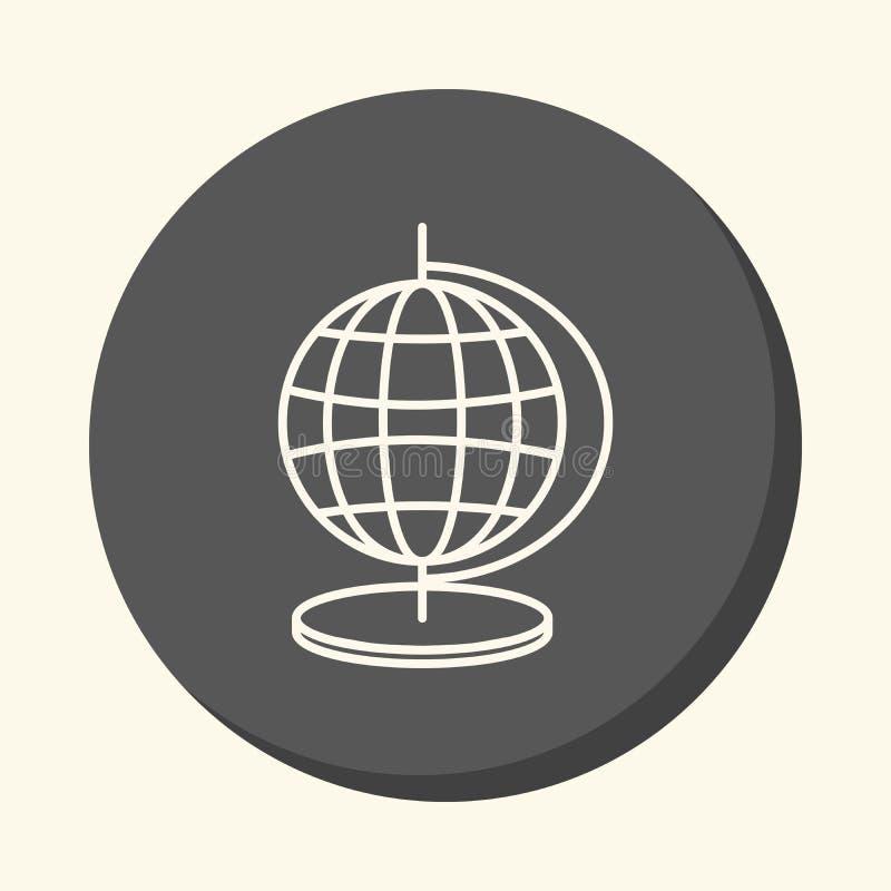 Globo con meridianos y paralelos, icono linear redondo con la ilusión del volumen, un elemento para su terreno de la escuela o bo libre illustration