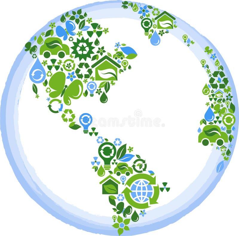 Globo con muchos iconos de la ecología ilustración del vector