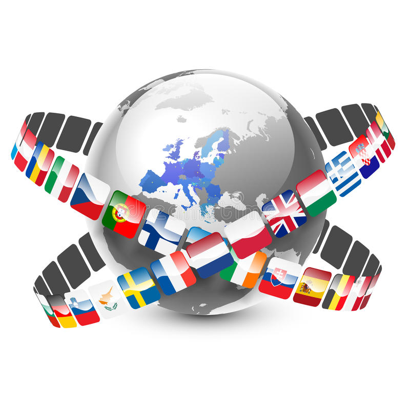 Globo con 28 países y banderas de la unión europea ilustración del vector
