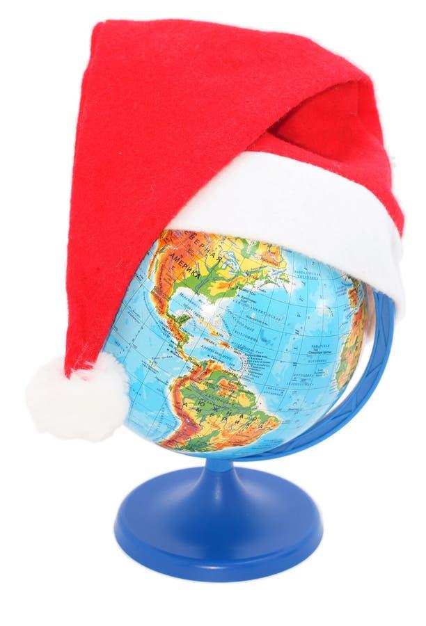 Globo con un sombrero de Papá Noel imagen de archivo