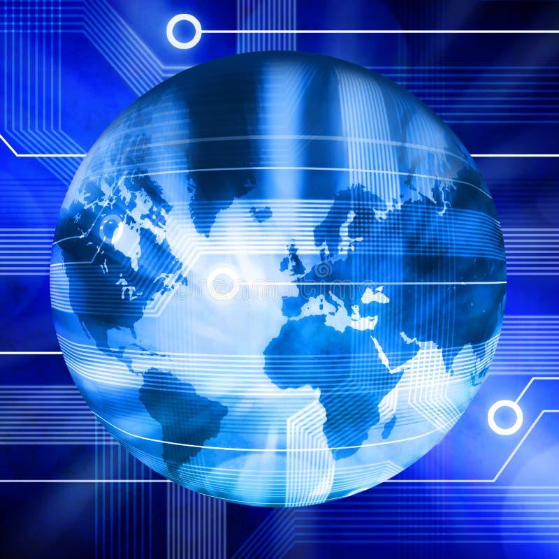 Globo connesso del mondo di tecnologia illustrazione di stock