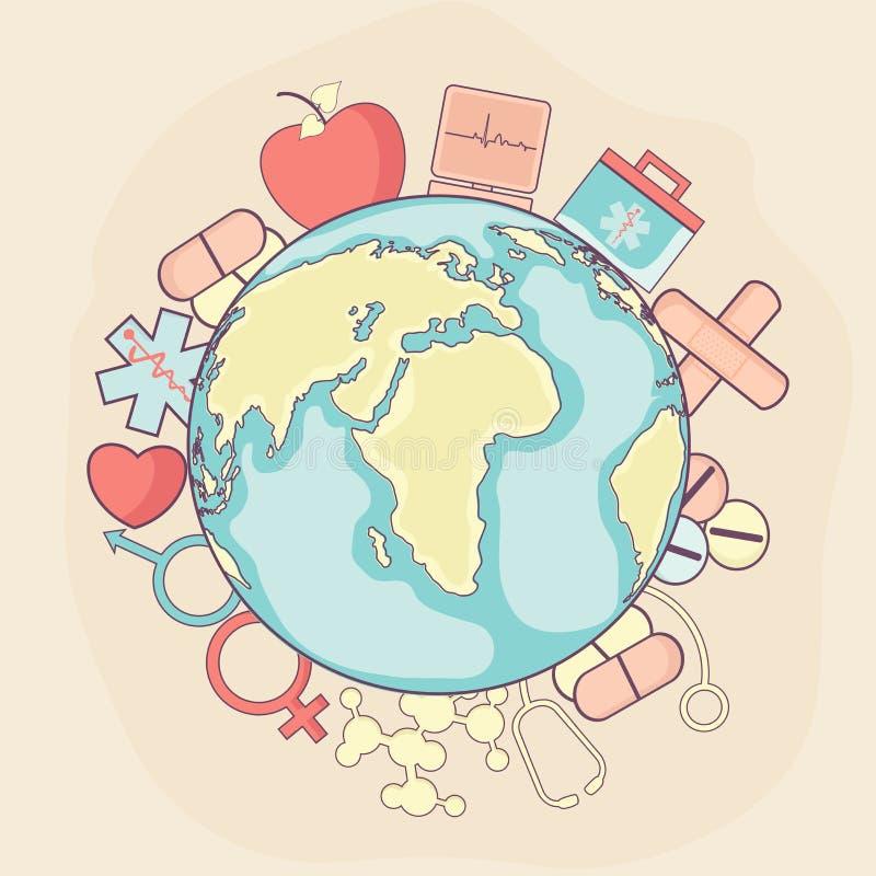 Globo creativo con los elementos médicos para el concepto sano de la vida libre illustration