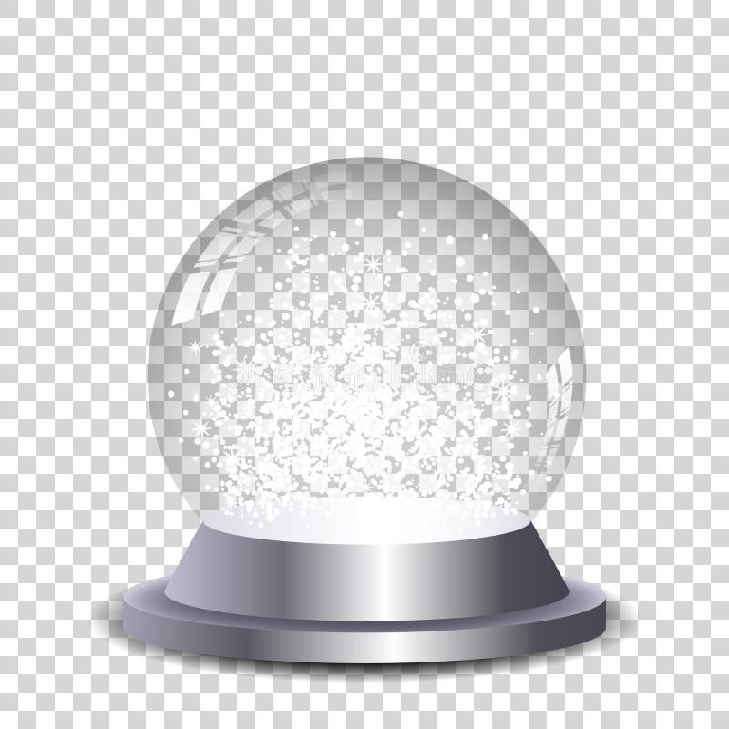 Globo cristalino de plata de la nieve transparente y aislado ilustración del vector