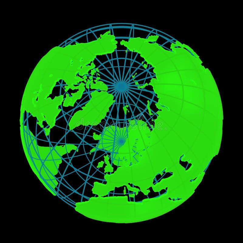 Globo cyber d'ardore 3D del pianeta della terra illustrazione di stock