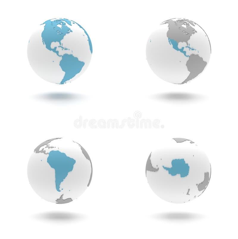 globo 3D ajustado - os Americas e a Antártica, sul ilustração do vetor