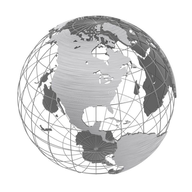 Globo d'argento del pianeta 3D della terra isolato illustrazione vettoriale