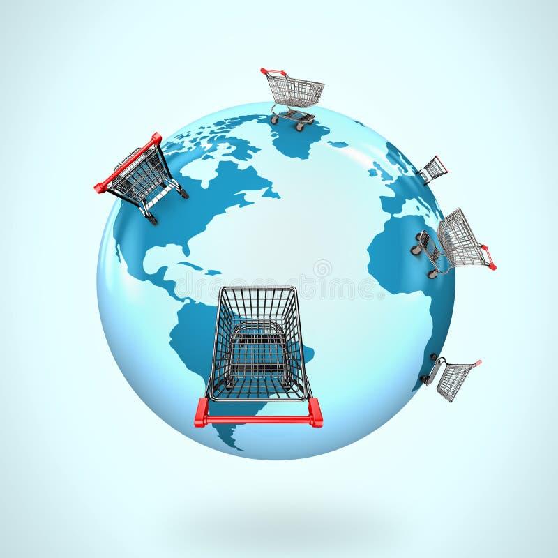 globo 3D con la mappa di mondo dei carrelli universalmente royalty illustrazione gratis