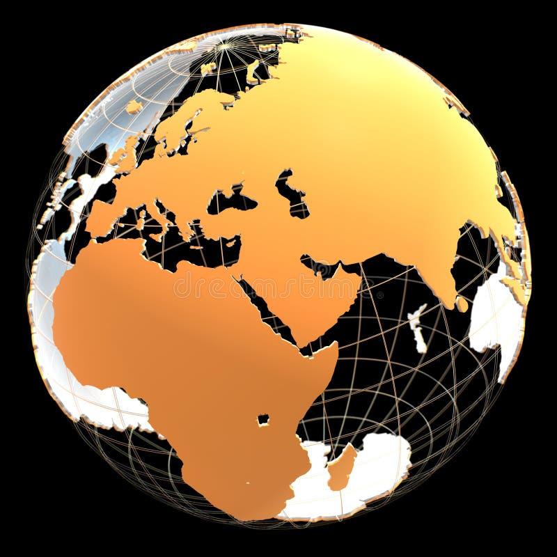 globo 3d con los continentes y las líneas meridianas ilustración del vector