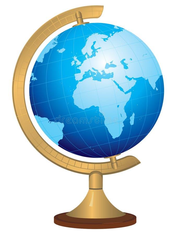 Globo d'ottone con il programma di mondo disegnato a mano illustrazione vettoriale