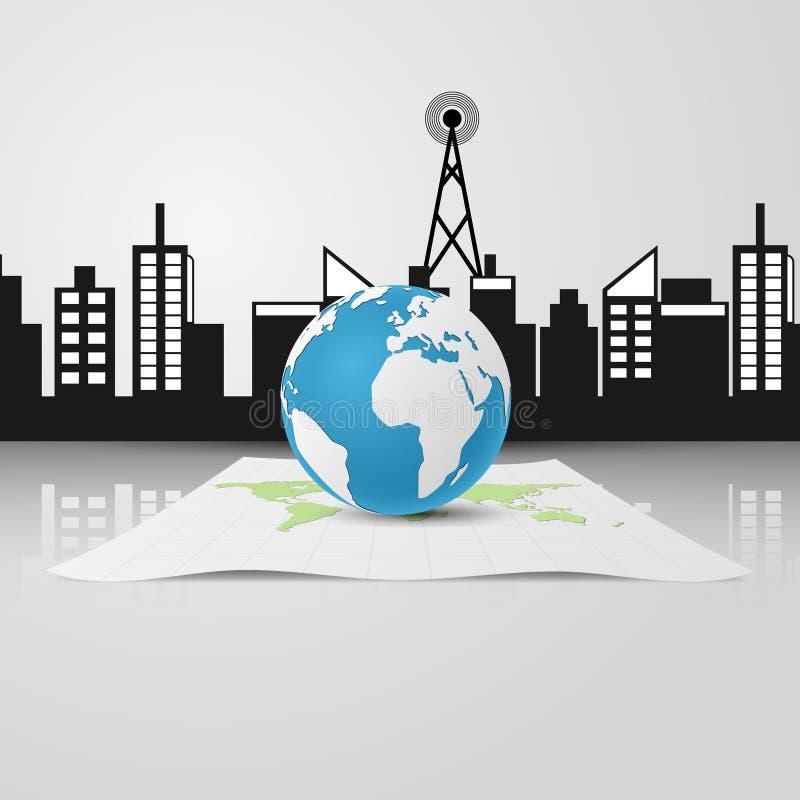 globo 3D y edificios colocados en un mapa del Libro Blanco stock de ilustración