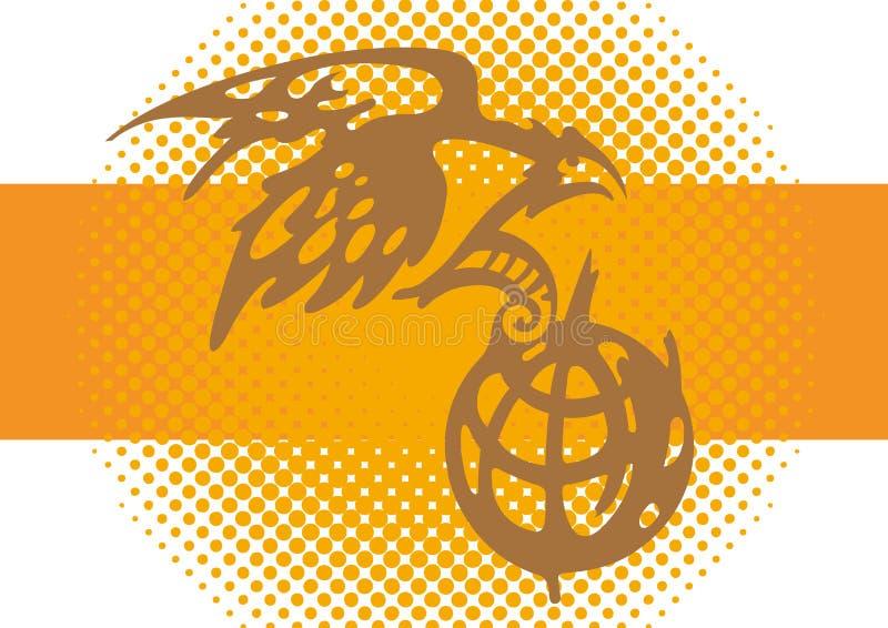 Globo da águia e da terra ilustração stock