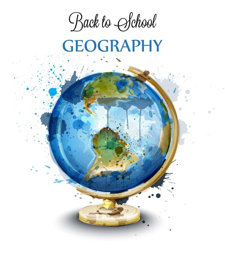 Globo da aquarela isolado no vetor branco Cartão da geografia ilustração royalty free