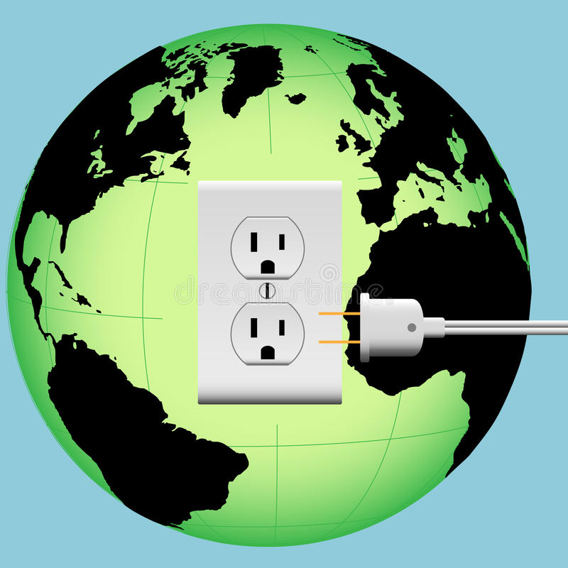 Globo da energia da tomada do plugue elétrico da TERRA ilustração stock